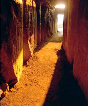 Sunrise on the winter solstice at the Newgrange passage tomb in Meath