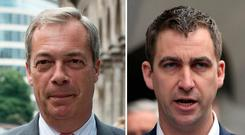Undated composite file photos of Nigel Farage (left) and Brendan Cox: PA Wire