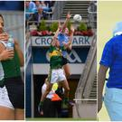 Sinead Lynch and Claire Lambe celebrate after qualifying for an Olympic rowing final (left), Ciaran Kilkenny and Anthony Maher contest a high ball in the Dublin vs Kerry All-Ireland semi-final (centre) and Jordan Spieth reacts to his Masters back nine collapse (right).