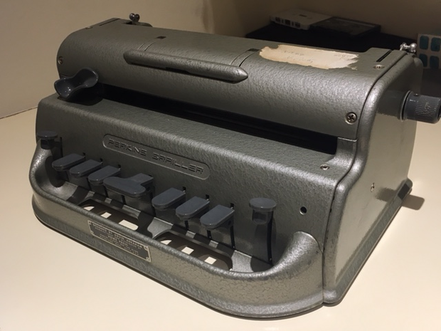 The brail typewriter which Christina's mother used to type her books