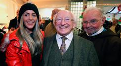 President Michael D Higgins with Ashling Birrell and Brother Kevin during a visit to the Capuchin Day Centre in Dublin. Photo: Colin Keegan, Collins Dublin.