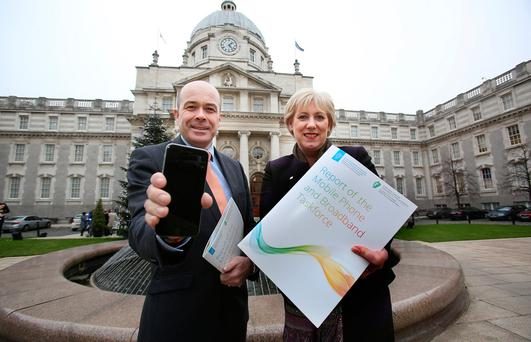 Denis Naughten,TD, the Minister for Communications, Climate Change and Natural Resources with Heather Humphreys,TD, the Minister for Regional Development, Rural Affairs, Arts, Heritage and the Gaeltacht, launched the Report of the Mobile Phone and Broadband Taskforce at a media briefing held at Government Buildings. Photo: Tom Burke
