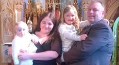 Katie Delahunty O'Brien with her husband Matthew and their children Sophie and Luke