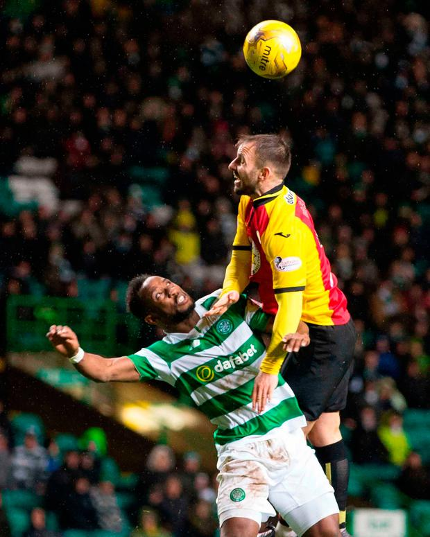 Celtic's Moussa Dembele (left) and Partick Thistle's Sean Welsh battle for the ball Picture: PA
