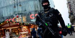 A police officer of the Counter Terrorism Centre with sub-machine gun patrols at a Christmas market in downtown Budapest as security has been beefed up at venues visited by large number of people after a truck ran into a crowded Christmas market in Berlin killing several people. Photo: Janos Marjai/MTI via AP