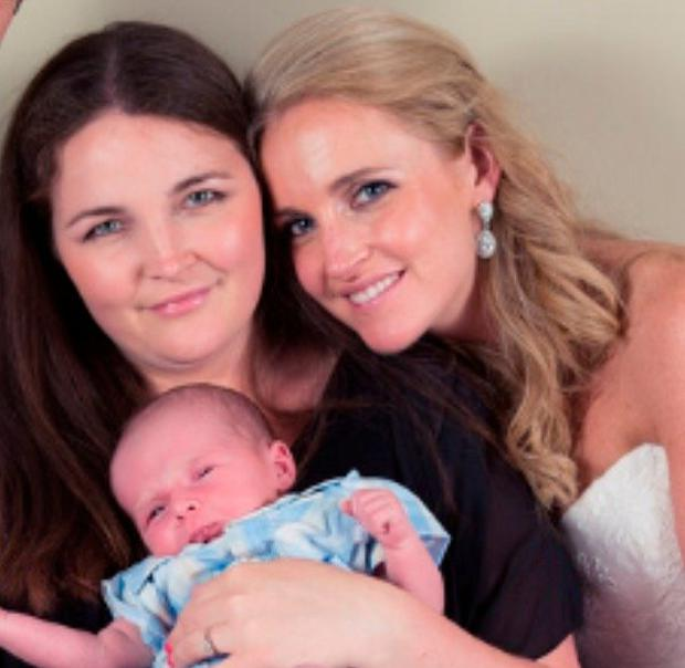 Mother-of-two, Katie Delahunty O'Brien (left) pictured with her son Luke and sister Fionnuala.