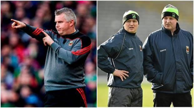 Current Mayo manager Stephen Rochford (left) and ex-Mayo joint managers Noel Connelly and Pat Holmes (Right).