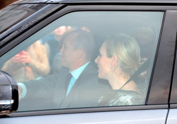 Zara and Mike Tindall arriving for the Queen's Christmas lunch at Buckingham Palace, London.