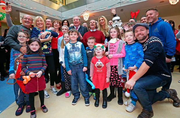 Celebs who took part in the Celebrity Ward walk pictured this morning at Our Lady's Hospital for Sick Children, Crumlin for the 12th Annual Celebrity Ward Walk. Photo: Collins Dublin.