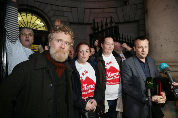 The Home Sweet Home group Glen Hansard, Carrie Hennessy, Ashling Hedderman and Brendan Ogle pictured leaving the High Courts PIC COLIN O'RIORDAN
