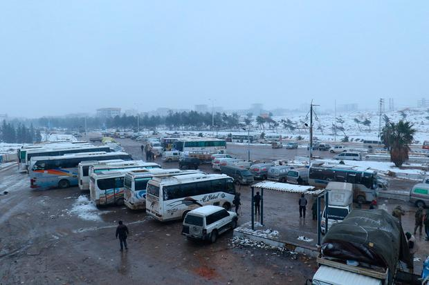 A general view shows parked busses at insurgent-held al-Rashideen, Syria December 21, 2016. REUTERS/Ammar Abdullah