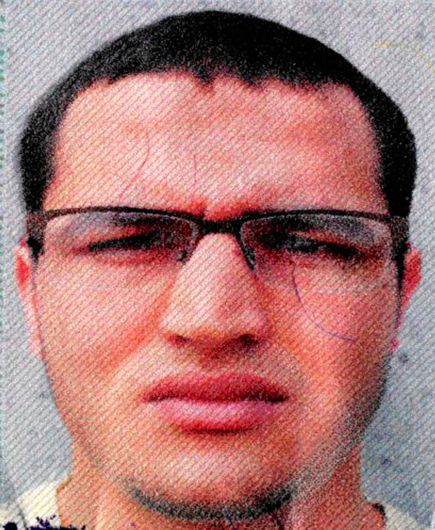 Anis Amri is suspected of being involved in the fatal attack on the Christmas market in Berlin Photo: German police via AP