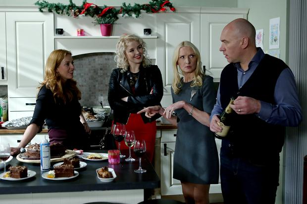 Niamh bristles with Hayley and Paul as everyone celebrates Christmas (L-R) Niamh - Clelia Murphy, Hayley - Rebecca Grimes, Nicola - Claudia Carroll, Paul - Tony Tormey