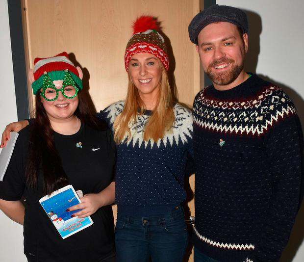 Molly McFadden, Brian McFadden and Danielle Parkinson at the annual Christmas Ward Walk at Our Lady's Hospital for Sick Children, Dublin
