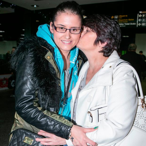 Siobhan O'Sullivan arriving from London with her mother Noreen Boland from Shannon at Shannon Airport. Photo: Kyran O'Brien