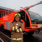 Fireman Brendan Lavin at Dublin Airport. Photo: Caroline Quinn