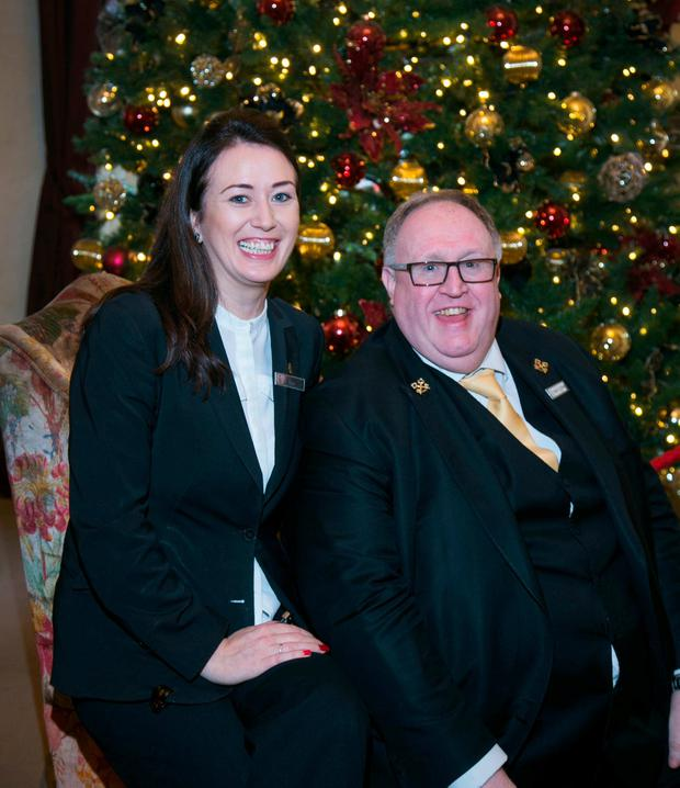 Sommelier Nisea Doddy and concierge Dennis O'Brien at the Shelbourne Hotel. Photo: Colin O'Riordan
