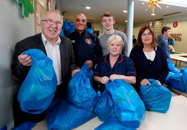 Councillor Christy Burke with helpers Mick McEvoy, Liam Manning, Eileen Owens and Maria Bredin at the centre. Photo: Gerry Mooney