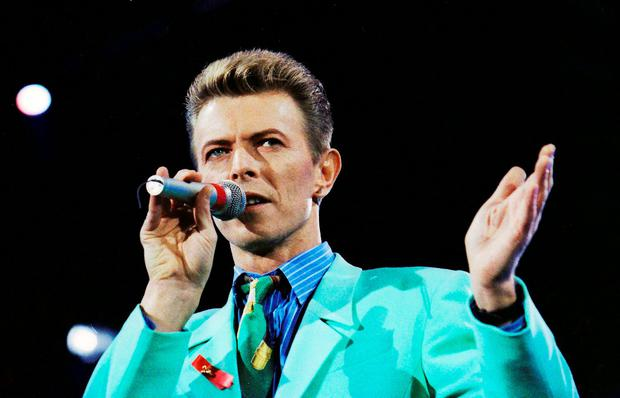 David Bowie on stage at Wembley during the Freddie Mercury Tribute Concert