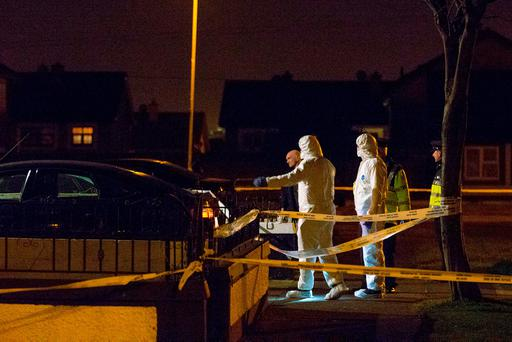 Forensic officers at the scene of the killing in Ronanstown, west Dublin