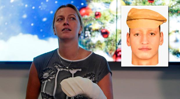 Petra Kvitova spoke publicly today. Inset, a photofit of her attacker