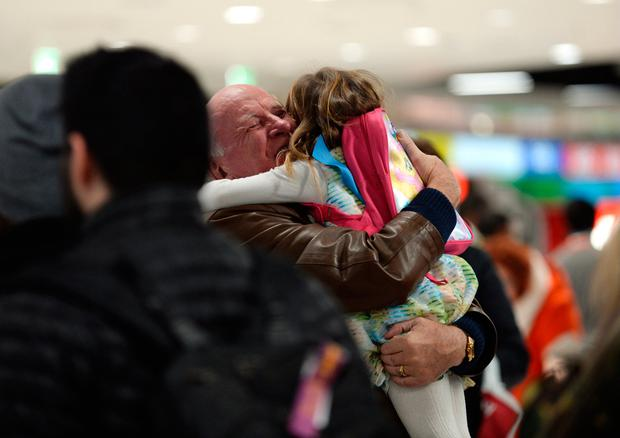 Family and friends greeting in arrivals hall of Dublin Airport terminal 1. Dublin Airport, Dublin. Picture: Caroline Quinn