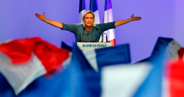 Marine Le Pen is running second in the French polls and has tapped into anger over immigration and the lacklustre income growth that is fuelling populist movements around the world. Photo: Reuters