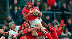 Alan Quinlan in action for Munster against Ulster in December 2001. Photo: Matt Browne/Sportsfile