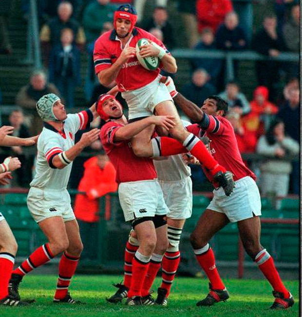 alan quinlan in action for munster against ulster in december 2001 photo matt browne