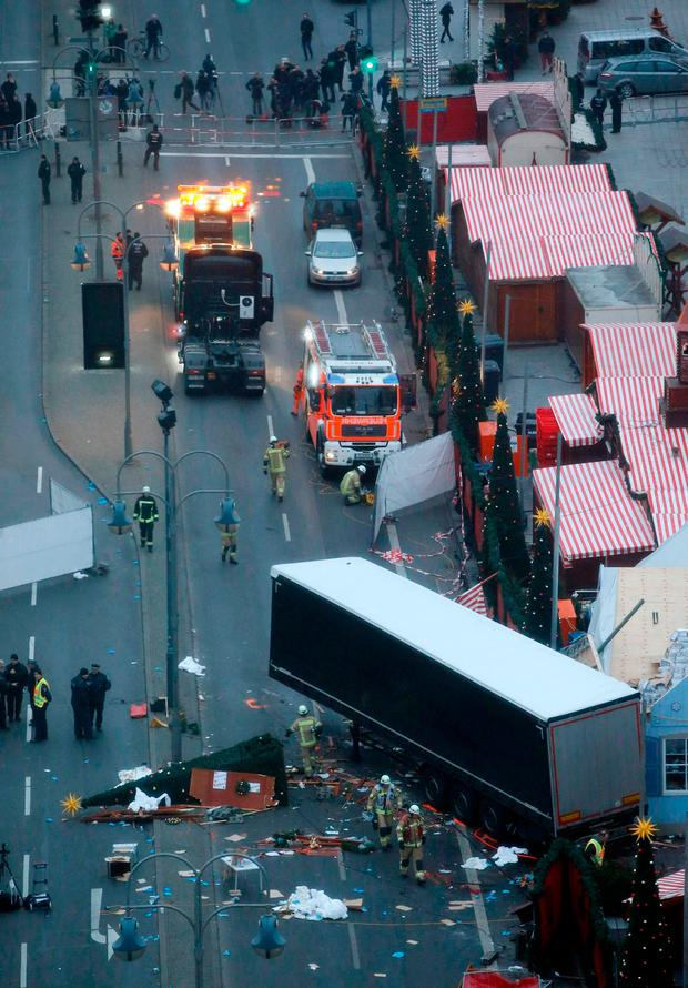 The aftermath of the terrorist attack on the Berlin Christmas market. Photo: Reuters