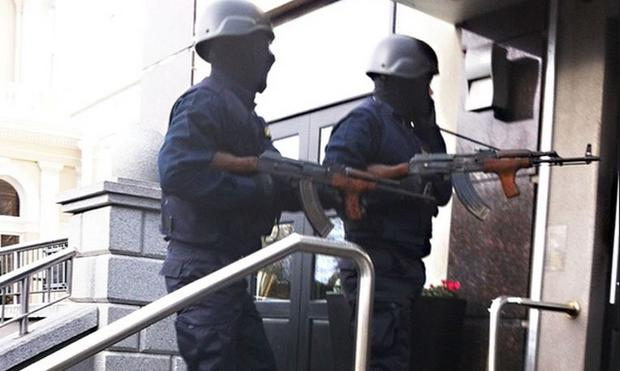 February 5, 2016: A photograph taken outside the Regency Hotel in Dublin just moments before raiders in disguise entered the hotel. One man died and two others were injured in the shooting incident.