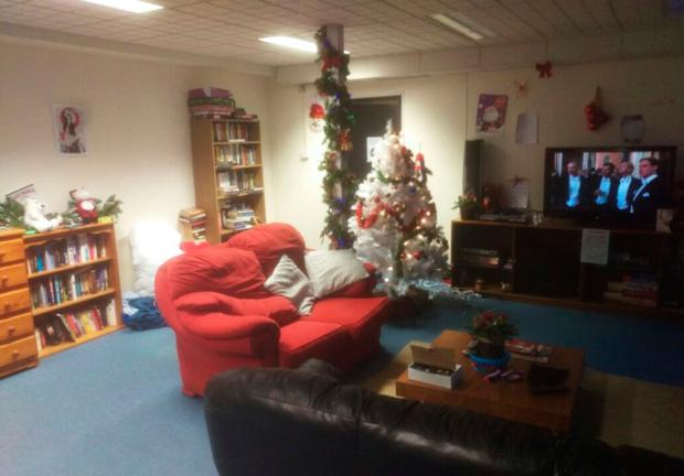 One of the sitting rooms in Apollo House all decked out for the Christmas season