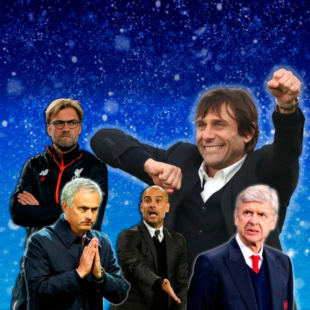 Antonio Conte, top right could have the last laugh over rivals Klopp, Wenger, Guardiola and Mourinho