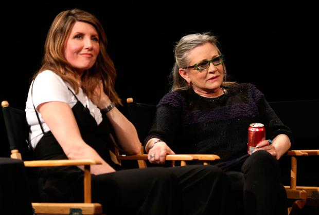 Actress/director Sharon Horgan and talent Carrie Fisher speak on stage at Tribeca Tune In: Catastrophe at SVA Theatre 2 on April 19, 2016 in New York City. (Photo by Robin Marchant/Getty Images for Tribeca Film Festival)