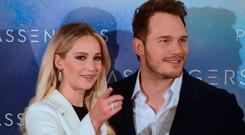 US actors Jennifer Lawrence and Chris Pratt pose during the photocall of