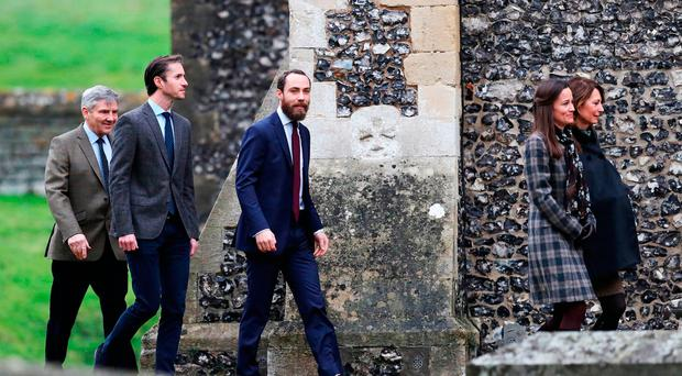 (Left-right) Michael Middleton, James Matthews, James Middleton, Pippa Middleton and Carole Middleton arrive to attend the morning Christmas Day service at St Mark's Church in Englefield, Berkshire.