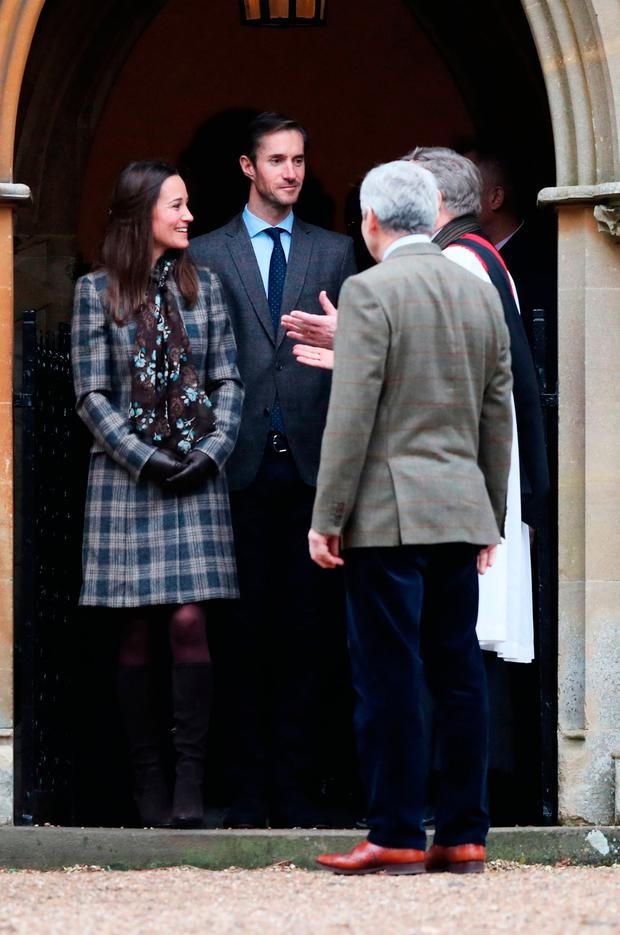 Pippa Middleton, James Matthews and Michael Middleton leave following the morning Christmas Day service at St Mark's Church in Englefield, Berkshire.