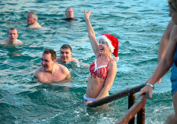 Joan Fleetwood from Blackrock pictured taking part in the Christmas day swim at the 40 foot in Dublin Credit:Frank Mc Grath