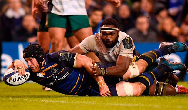 Sean O'Brien of Leinster goes over to score his side's fourth try during the European Rugby Champions Cup match between Leinster and Northampton Saints. Photo by Stephen McCarthy/Sportsfile