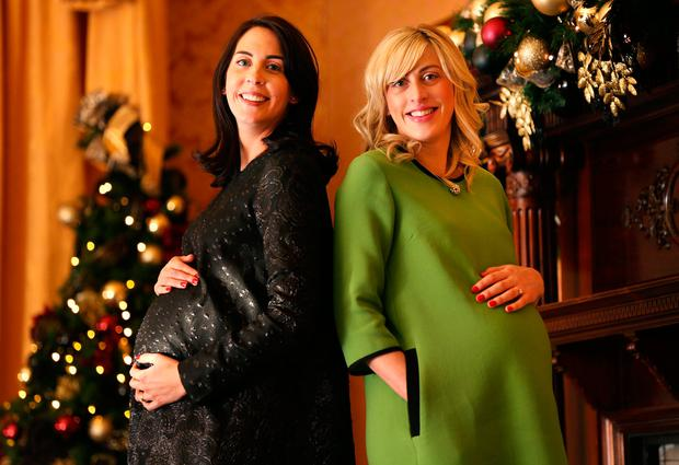 Niamh O'Neill (left) and Heidi Higgins, pictured together in the run-up to Christmas, first met as students at NCAD. Photo: Gerry Mooney
