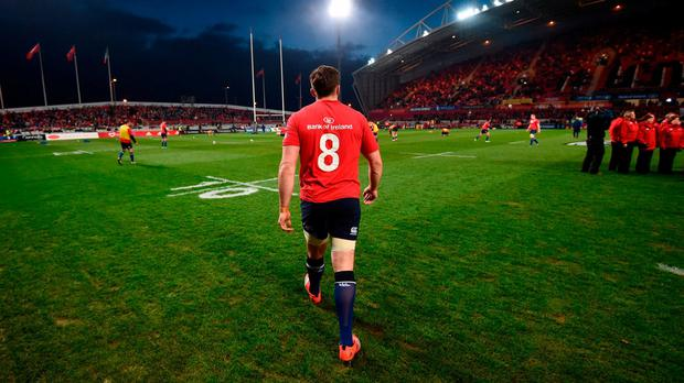 Jack Conan of Leinster prior to the Guinness PRO12 Round 11 match between Munster and Leinster at Thomond Park in Limerick. Photo by Stephen McCarthy/Sportsfile