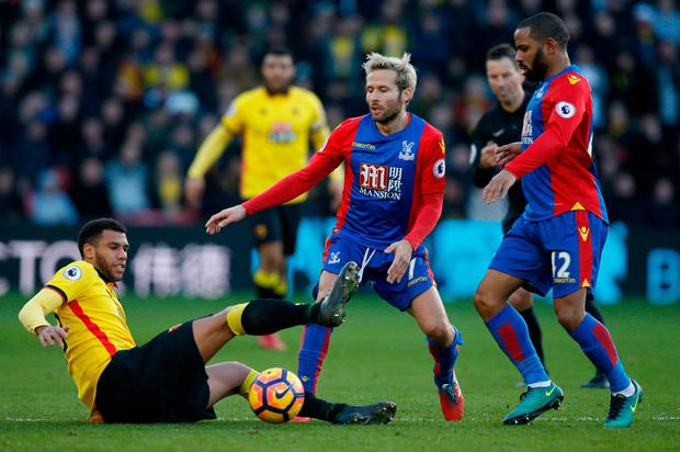 Crystal Palace's Jason Puncheon and Yohan Cabaye in action with Watford's Etienne Capoue. Photo: Paul Childs/Action Images via Reuters