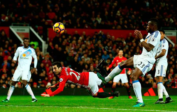 Henrikh Mkhitaryan of Manchester United scores his team's third goal. Photo: Getty