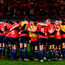 Leinster players warm up wearing No 8 t-shirts in tribute to Anthony Foley. Photo: Sportsfile