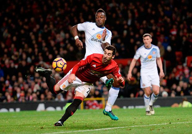 Manchester United's Henrikh Mkhitaryan back-heels the ball into the top corner against Sunderland at Old Trafford. Photo: Oli Scarff/AFP/Getty Images