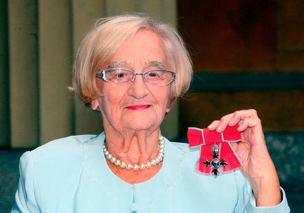 Liz Smith with her MBE for services to drama as the Royle Family actress has died aged 95. Photo: Lewis Whyld/PA Wire