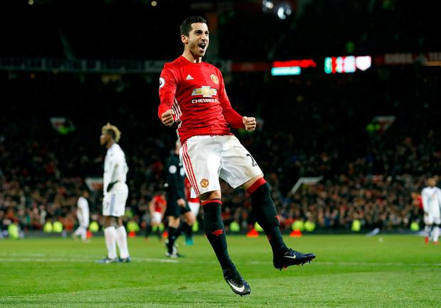 Manchester United's Henrikh Mkhitaryan celebrates scoring his unbelievable volley