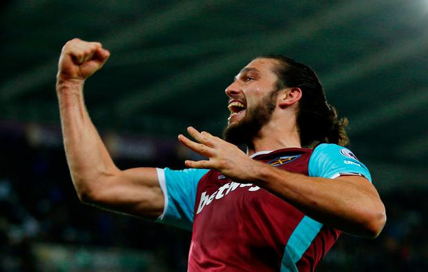 West Ham United's Andy Carroll celebrates scoring their fourth goal yesterday