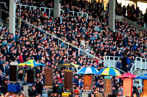 Racegoers watch the action during day one of the Christmas Festival at Leopardstown Racecourse. PRESS ASSOCIATION Photo. Picture date: Monday December 26, 2016. See PA story RACING Leopardstown. Photo credit should read: PA Wire.