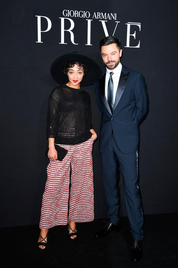 Support act: Ruth Negga with her boyfriend of six years, actor Dominic Cooper